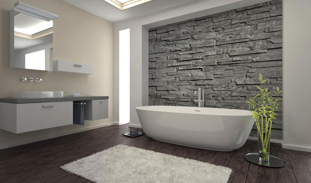 32227501 - Modern Bathroom Interior With Stone Wall